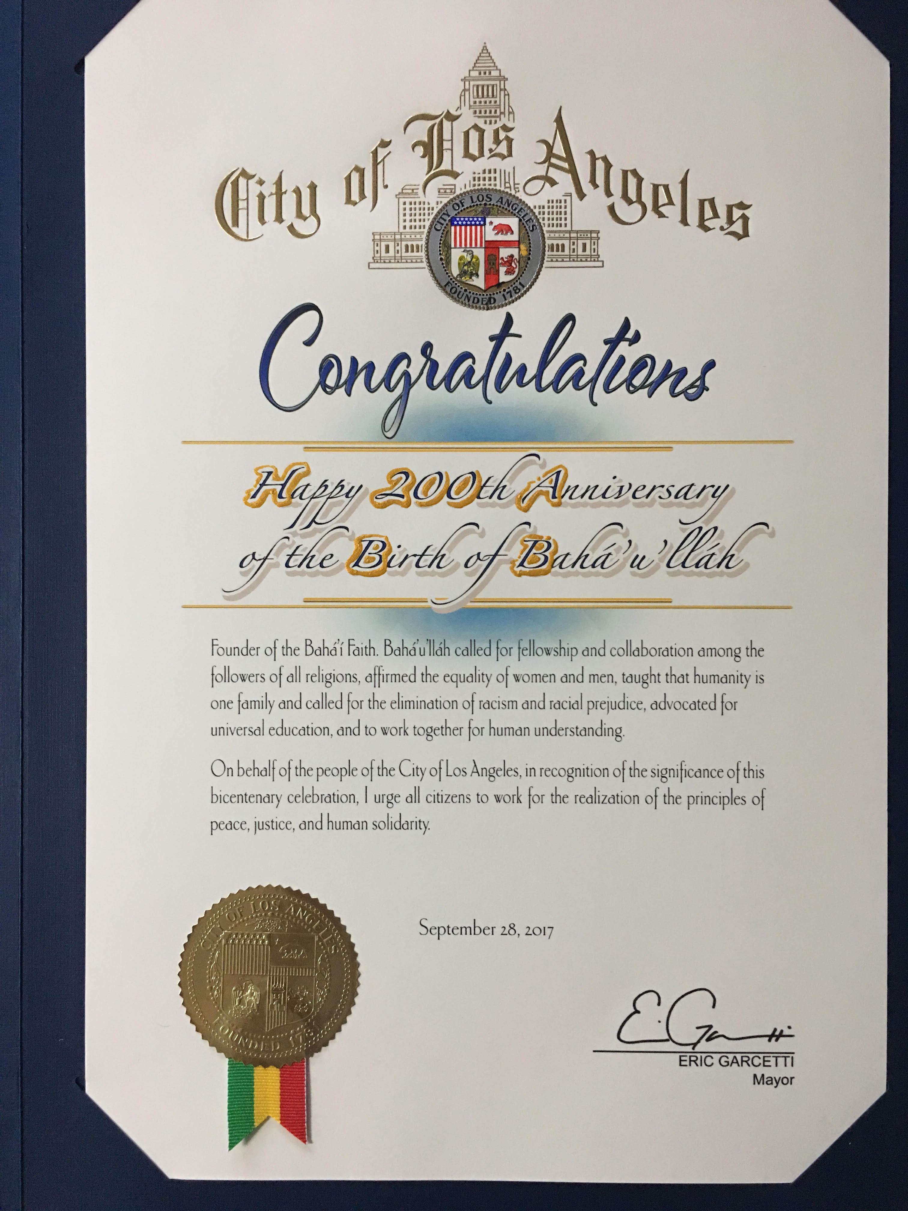 Los angeles bahai community congratulations from the la mayors office fandeluxe Choice Image